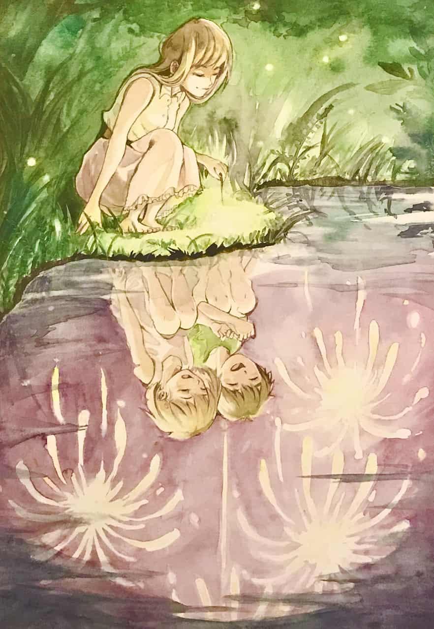 花火の記憶 Illust of 陳田こころ watercolor girl 花火 illustration アナログ 線香花火 oc