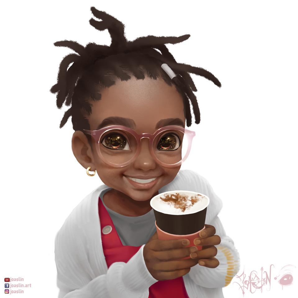 Hot cup  Illust of JoAsLiN glasses portrait painting cute anime illustration girl oc original art