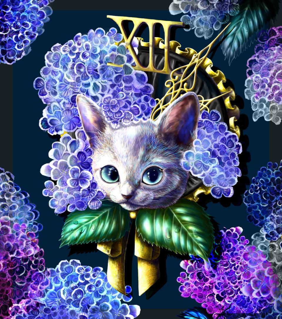 Popcorn Bonnet Ⅱ Illust of しゃの April2021_Flower kawaii cat contest blue flower