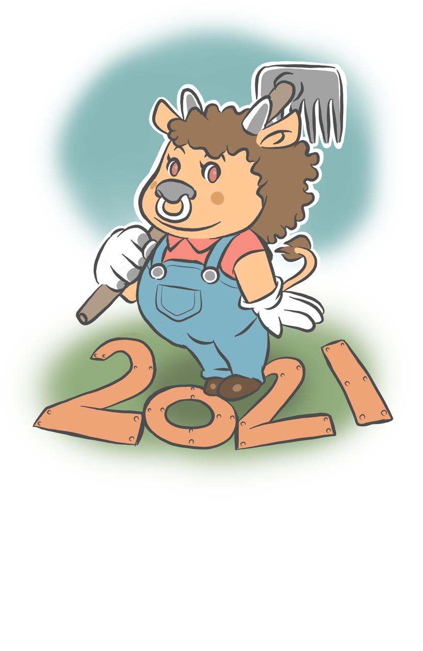 モーモーファーム Illust of ししまる 2021年丑年年賀状デザインコンテスト