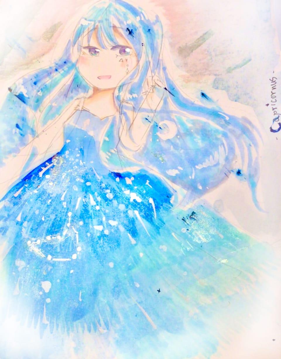 capriconus Illust of しるばなな ARTstreet_Ranking_Contest blue girl 山羊座 キラキラ 星座 アナログ star 青髪