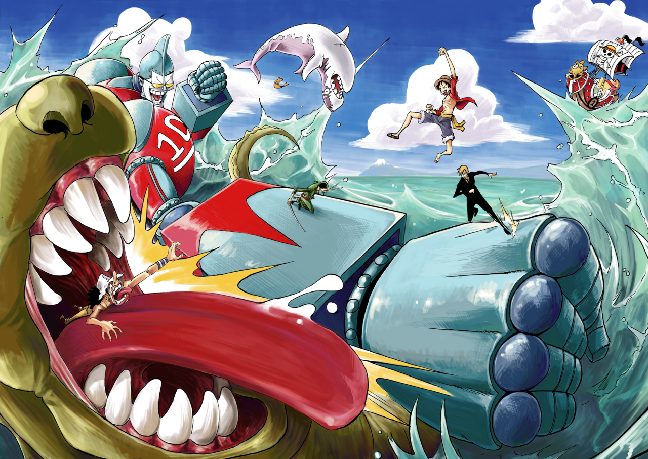 Ultra Franky vs The King of Sea Monsters Illust of Vodma ONEPIECE_FanartContest ONEPIECE_FanartContest-Illustration ONEPIECE mecha robot monster creature