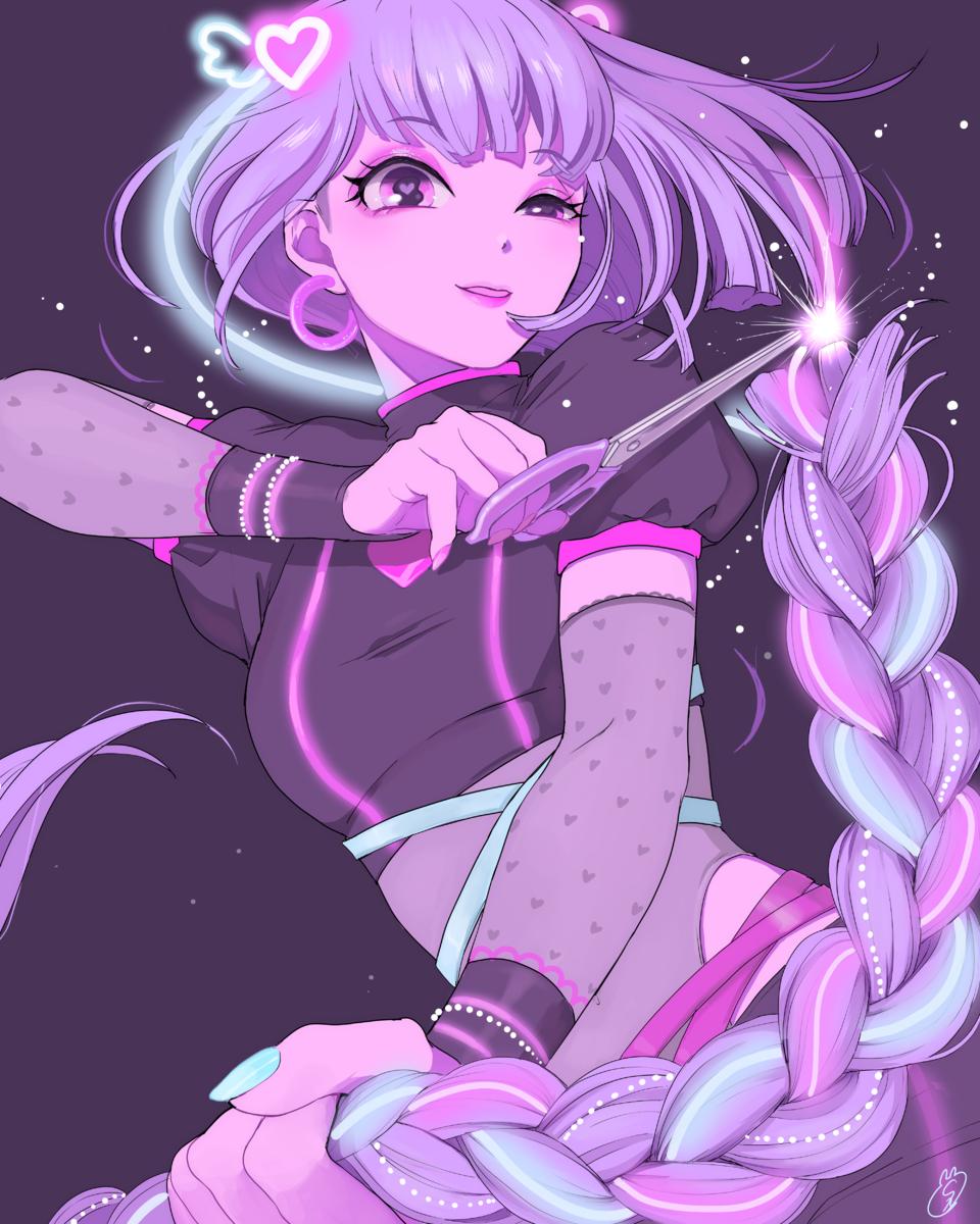 REborn Illust of しずか original girl ネオン ゆめかわいい 三つ編み Artwork purple