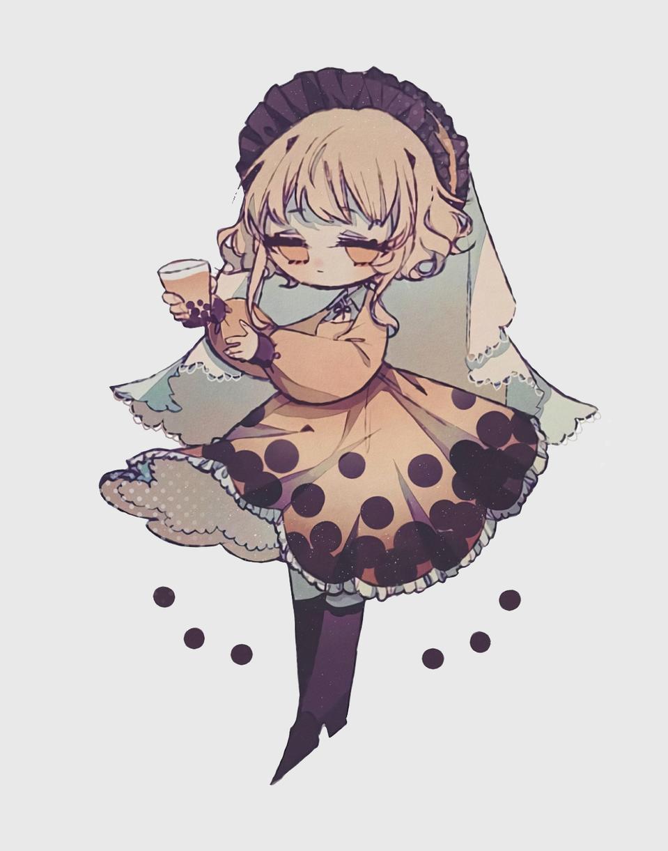 珍珠奶茶 Illust of *°∴° zzz*°∴° doodle girl chibi illustration タピオカ