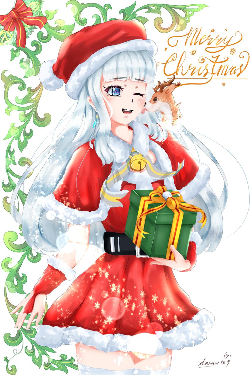 Merry Christmas🎄✨ Illust of danuarta9 | bitterline December2020_Contest:Santa Christmas girl Santa white danuarta9