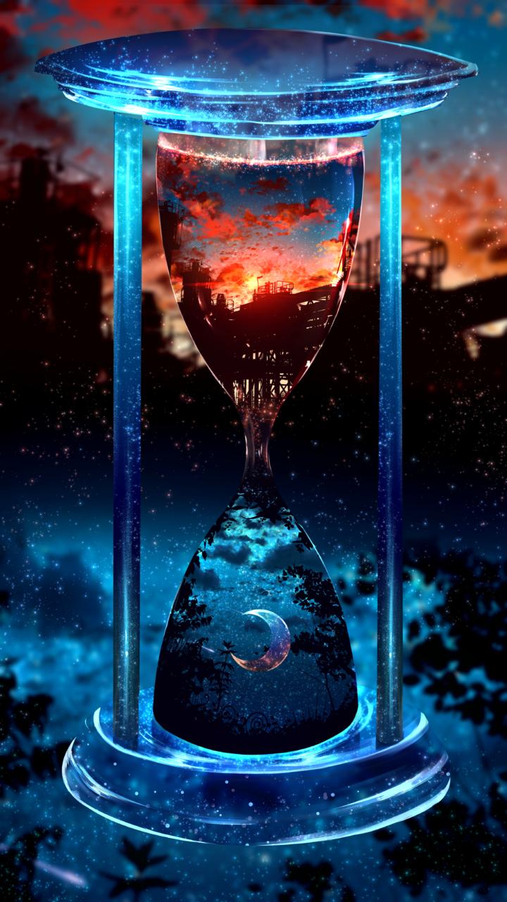落陽月華 Illust of ツチヤ 夕日 blue red 夜空