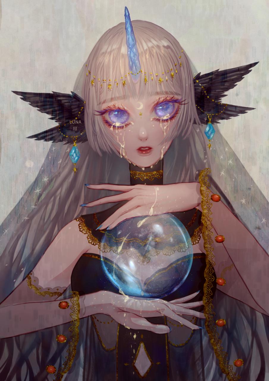 moonlight Illust of 魚貓 fishcat fantasy original girl 玻璃 透明 月光