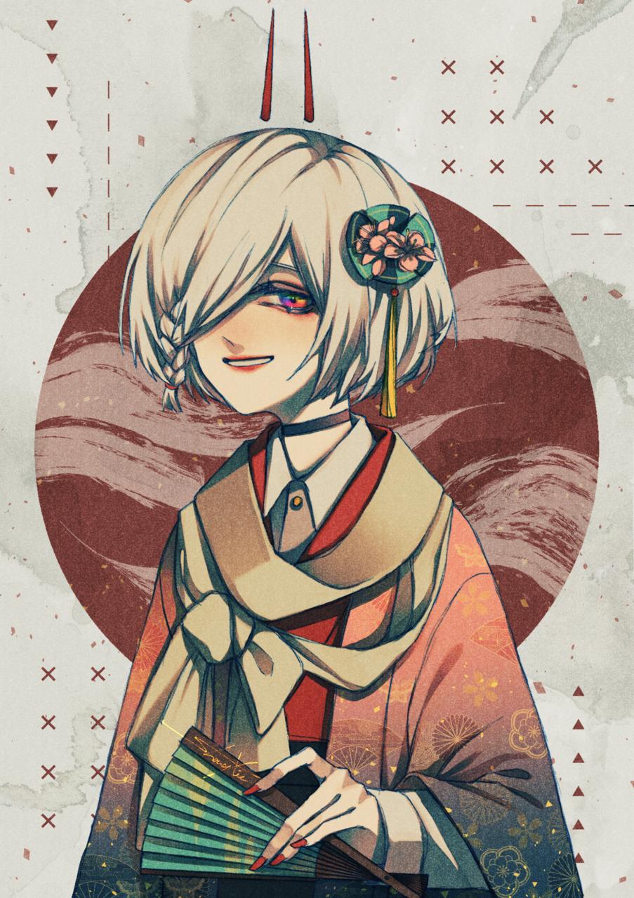 大正混搭 Illust of 血血-Chizome Kyoto_Award2020_illustration 大正浪漫 kimono 和服女子 短髮 繪型 大正ロマン 扇子 white_hair