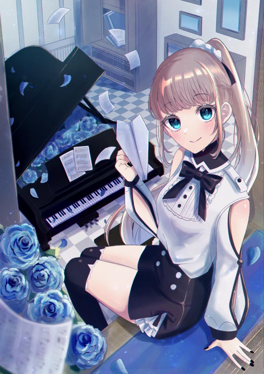 自由へのエチュード Illust of じゅにねう original girl piano rose blue ponytail