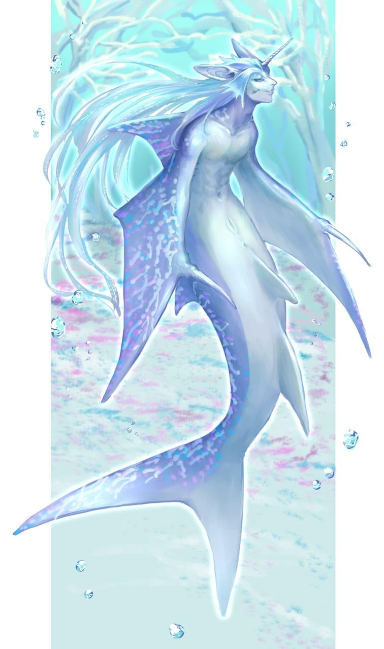 🌌🌊 Illust of チガサキユウ oc original ファンタジーキャラ mermaid クリーチャー 創作イラスト