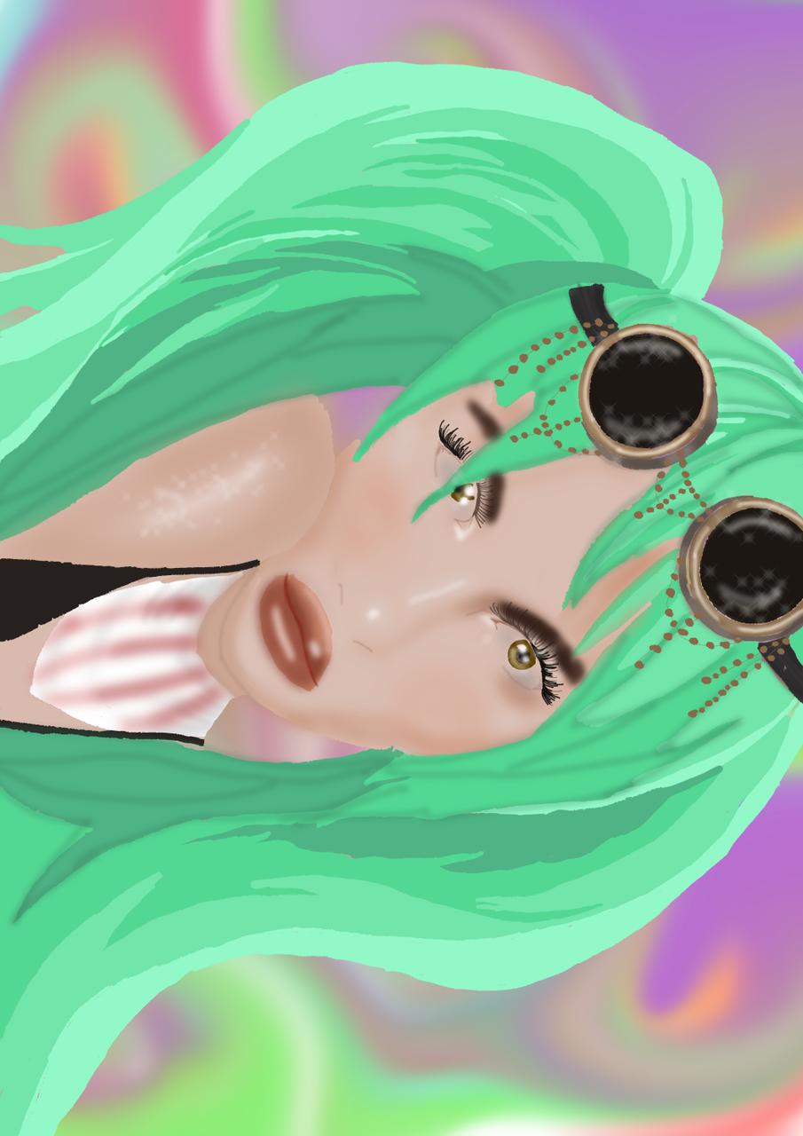 Elle <3 Illust of iemand MediBang_General_Election General_Election_Elle medibang elle art goggles ponies green character bangs realism real