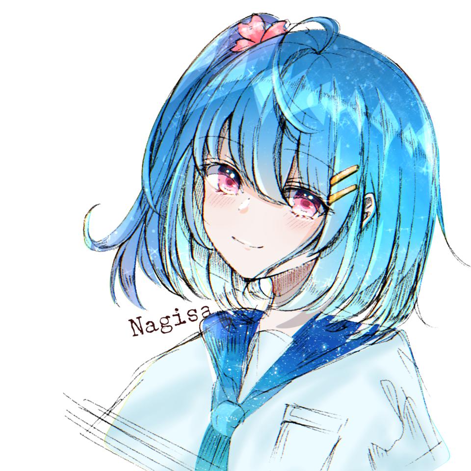 無題 Illust of hands u:p Fingerpaint sky girl icon cute 綺麗 blue digital illustration