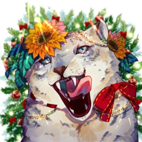 冬の向日葵 Illust of 内咲ひまり ひまわり animal ユキヒョウ oc original Christmas