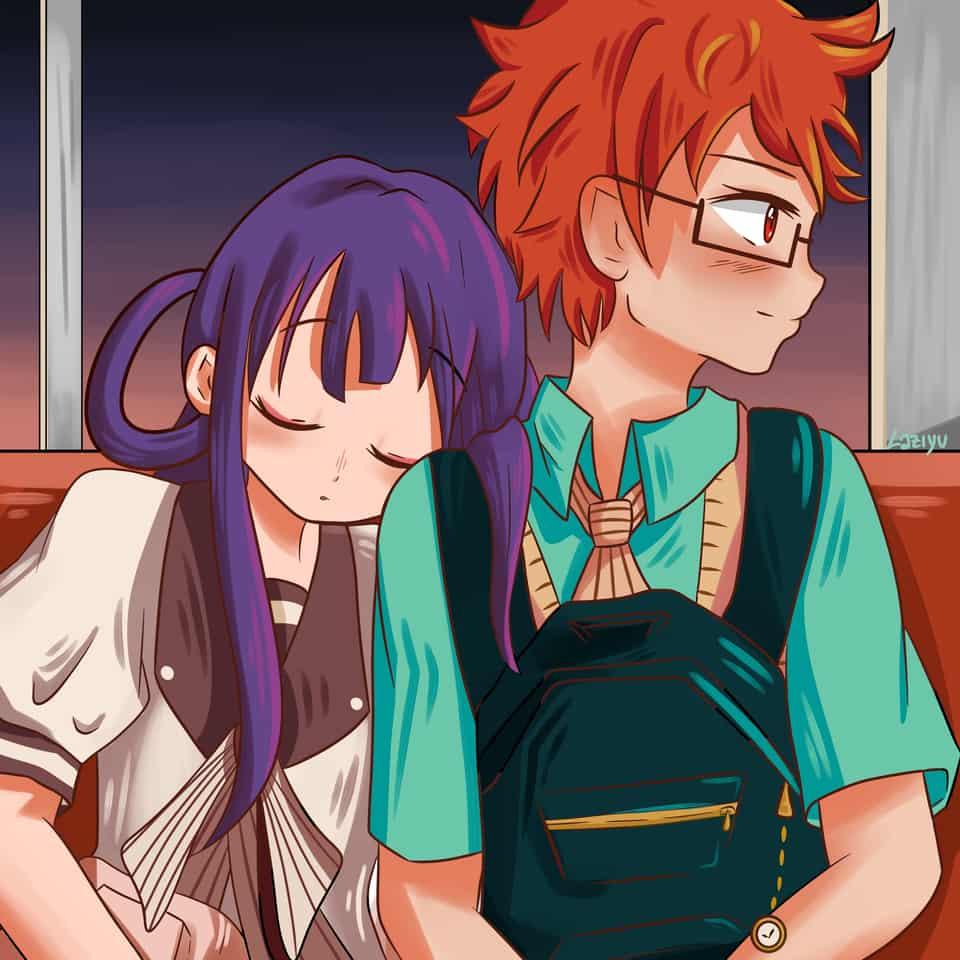 Aoi and Akane Illust of Lazy Yu romance aoiakane anime 赤根葵 Toilet-boundHanako-kun Ship manga akaneaoi 蒼井茜 animegirl