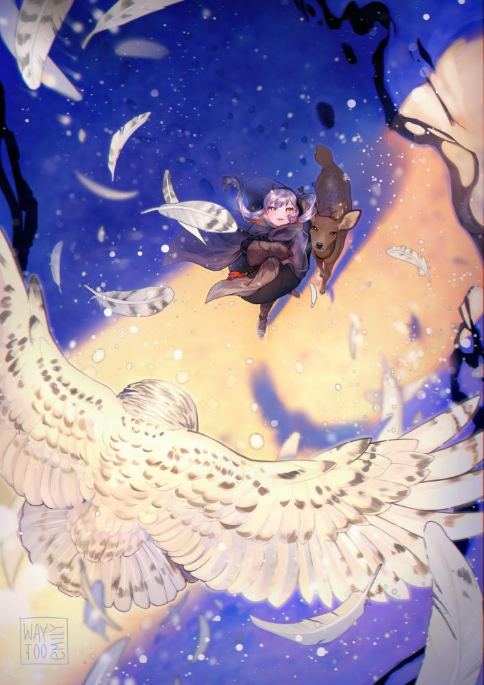 初日の出 Illust of emily埃米 original girl 梟 フクロウ 銀髪 鹿 日の出 snow