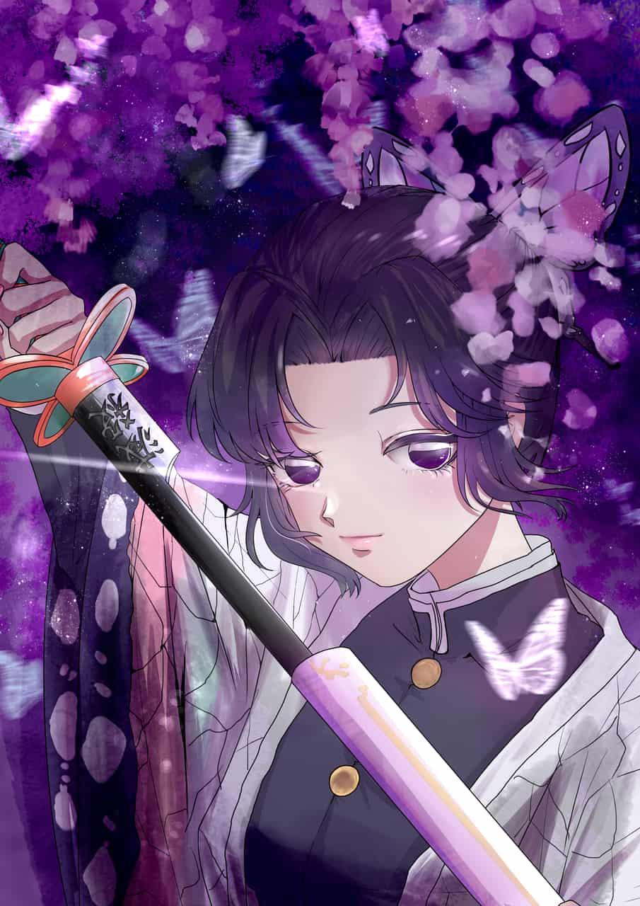 蝴蝶忍 Illust of 花落青丝 同人 girl KochouShinobu 板绘 medibangpaint KimetsunoYaiba