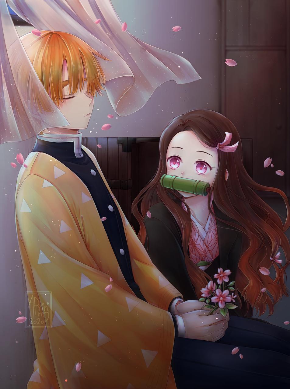 Next to you Illust of Apririnn (Onigiri) DemonSlayerFanartContest boy Zennezu girl KamadoNezuko KimetsunoYaiba flower cute AgatsumaZenitsu sleep