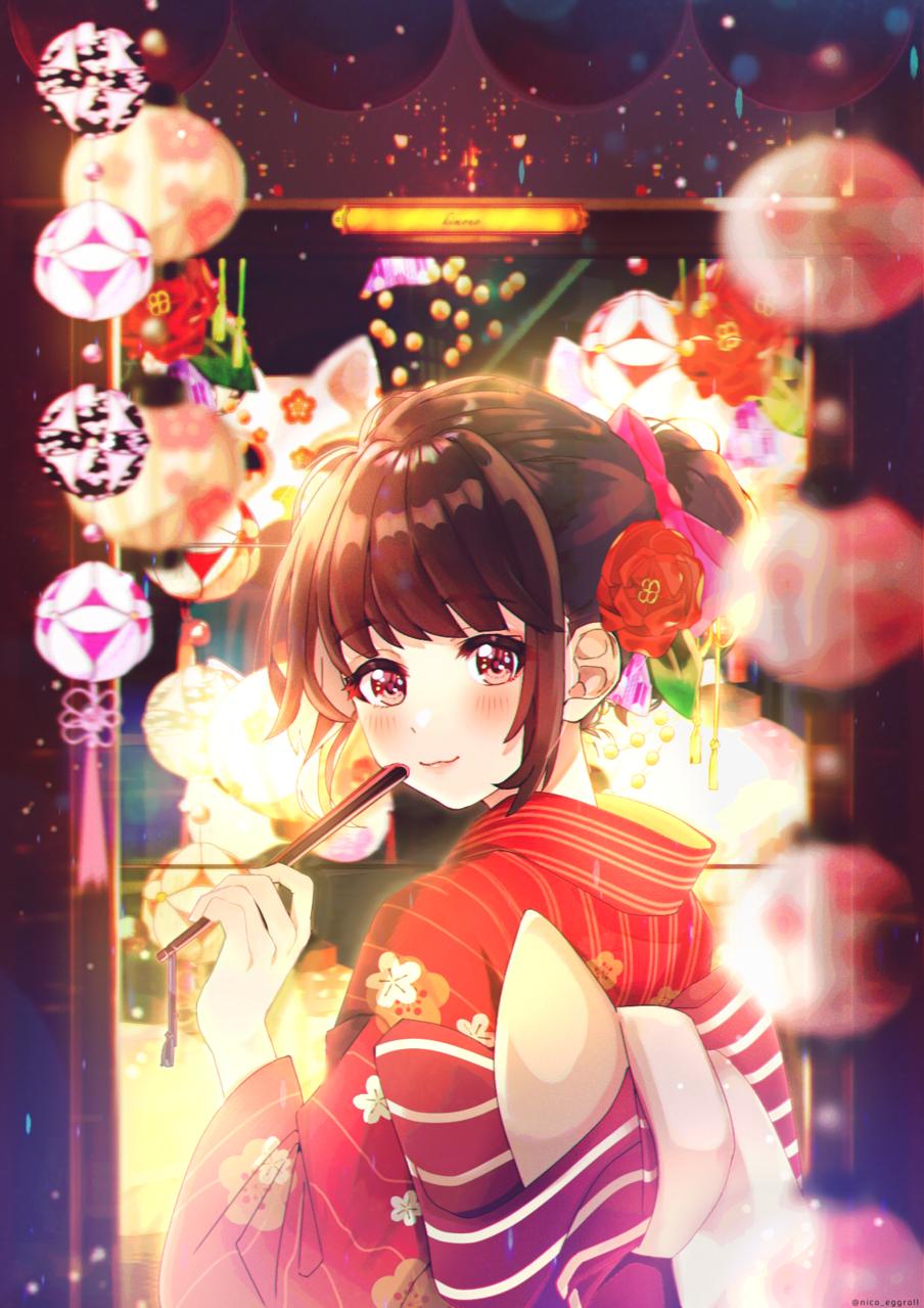 見返り少女 Illust of eggroll☆ Kyoto_Award2020_illustration illustration kimono original girl ibispaint