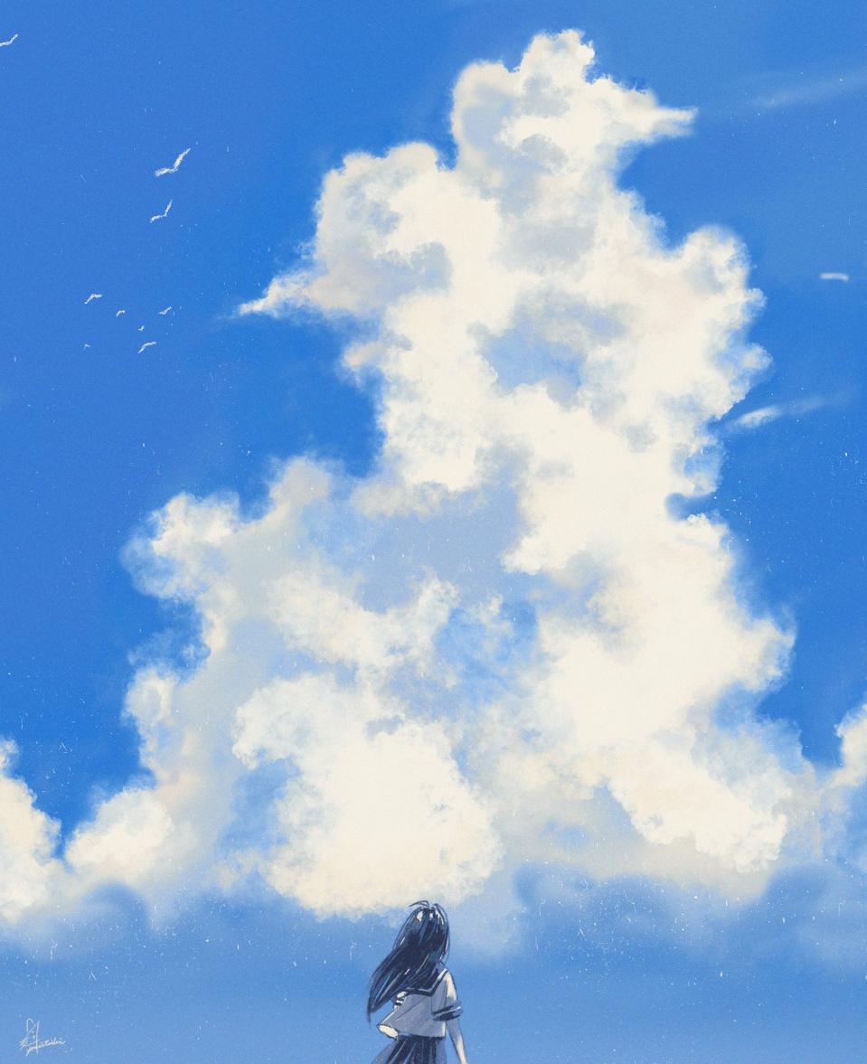 現実逃避 Illust of 陳田こころ original sky 入道雲 digital doodle sailor_uniform