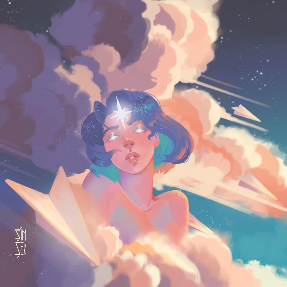 pole star Illust of EsenSimsek clouds blue star sky sunkissed