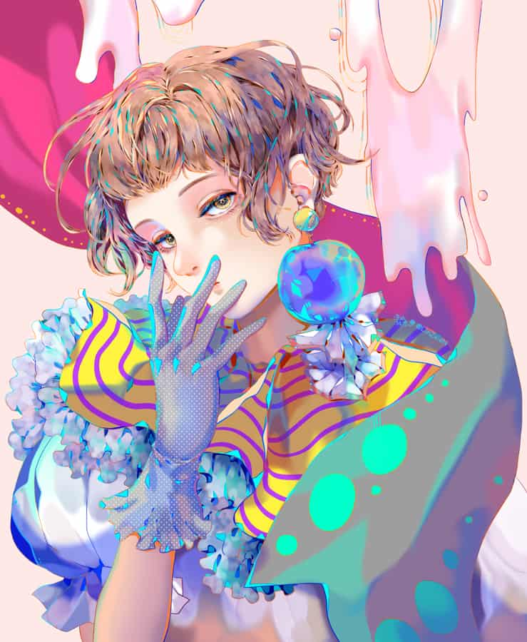 pink Illust of 凜紙械恩 girl original