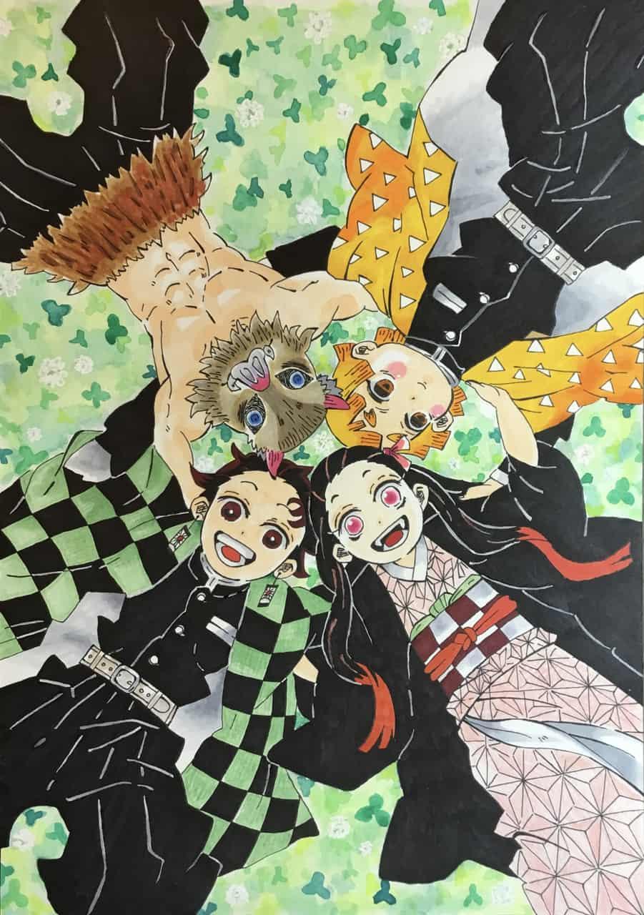 幸せの空間 Illust of Apricots DemonSlayerFanartContest blue AgatsumaZenitsu HashibiraInosuke KamadoNezuko KimetsunoYaiba KamadoTanjirou
