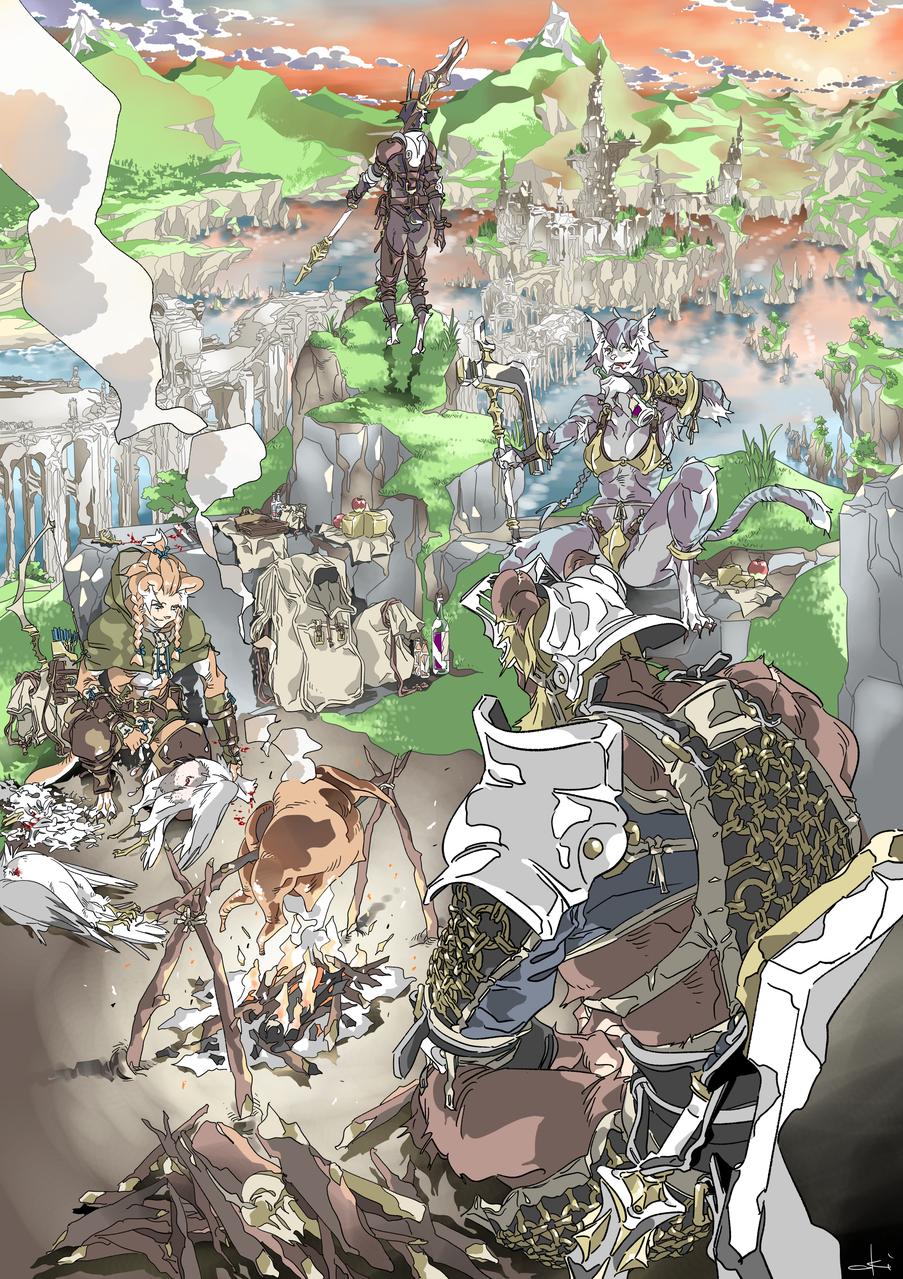 野営 Illust of oki fantasy September2020_Contest:Furry February2021_Fantasy original 獣人 sunset medibangpaint scenery furry