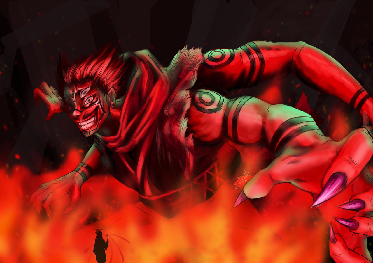 両面宿儺 Ryōmen Sukuna りょうめんすくな Illust of Somachi MF96 JujutsuKaisenFanartContest original manga anime JujutsuKaisen villain black Ryomensukuna SatoruGojō Sukuna devil