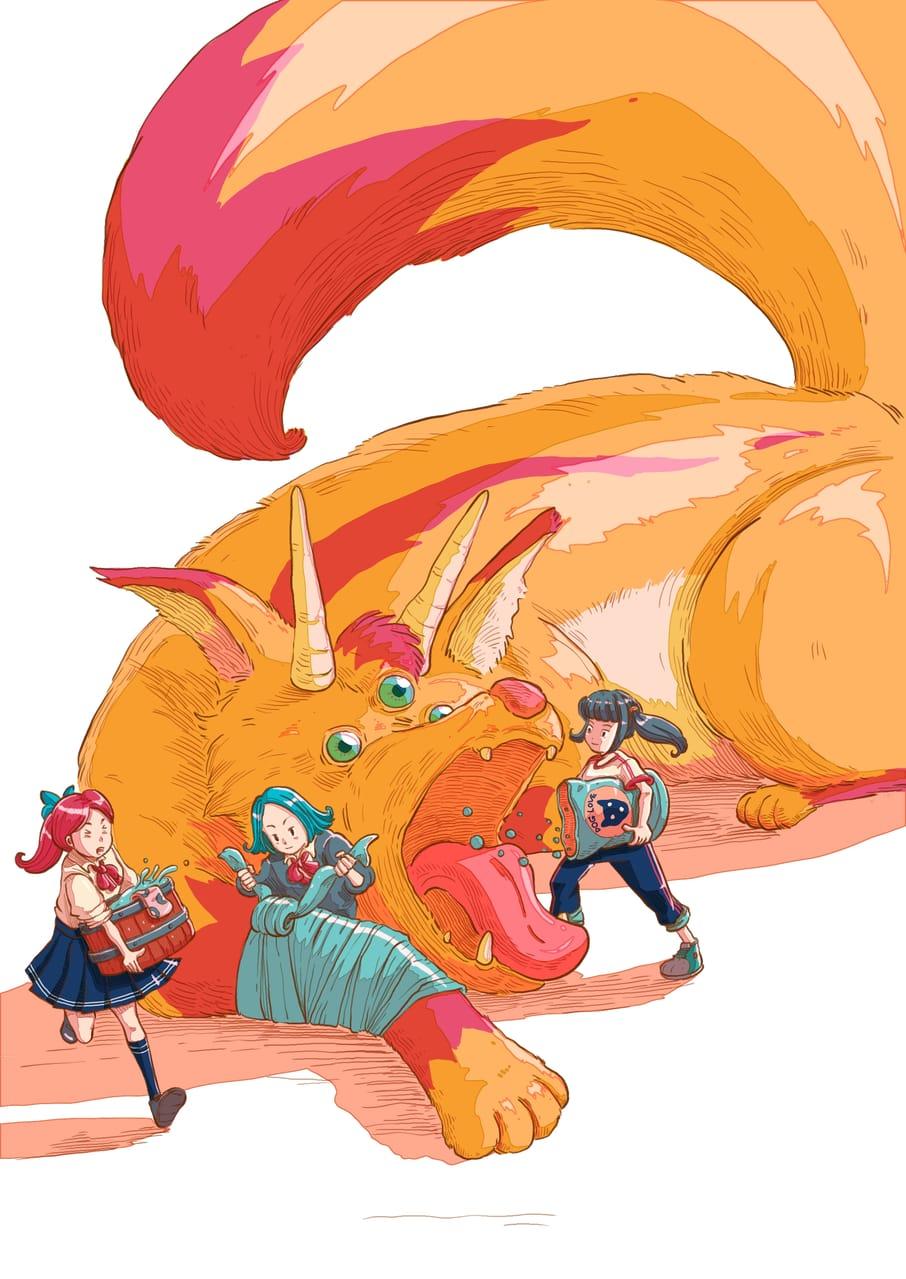 Monster Care Association after school : Fire fox Illust of Wutikai school February2021_Fantasy March2021_Creature MySecretSocietyContest girl Japanese_style pet fox monster youkai inari friend