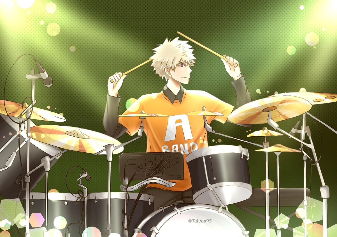 Drummer kacchan! Illust of taiyou95 MyHeroAcademia Katsuki_Bakugo medibangpaint bakugoukatsuki Midoriya Katsuki _Bakugo green Drum Kacchan bakugou