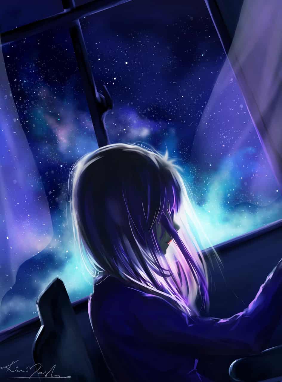 LimitlessDreams Illust of PinkMask galaxy starrynight blue Instagram nightsky purplehair starry_sky milkyway window animegirl