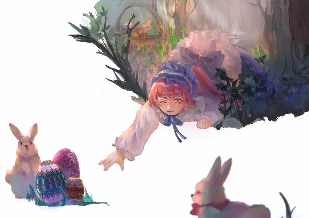 Easter Egg Hunt Illust of Tsautan March.2020Contest:Easter original girl easter medibangpaint rabbit 彩蛋 復活節