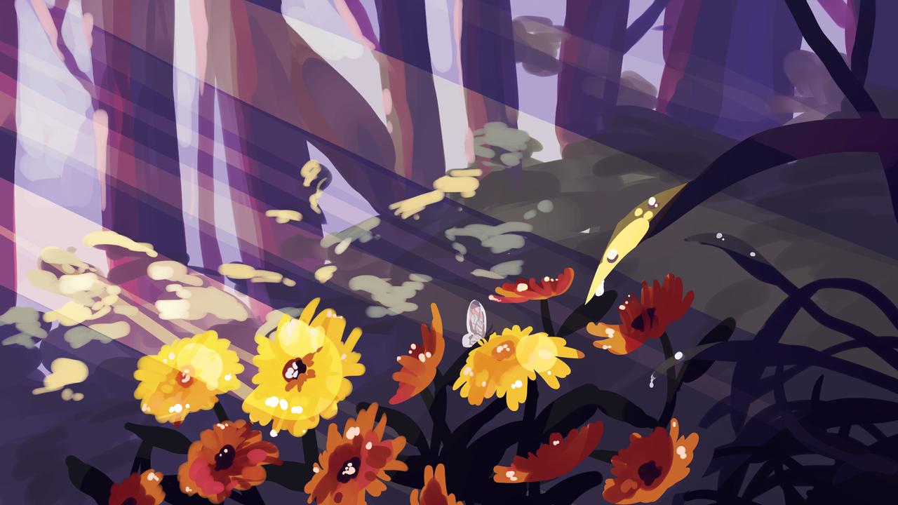 Yellow daisies Illust of Mumechi drawing iPad_raffle forest flower yellow illustration blue scenery artist art