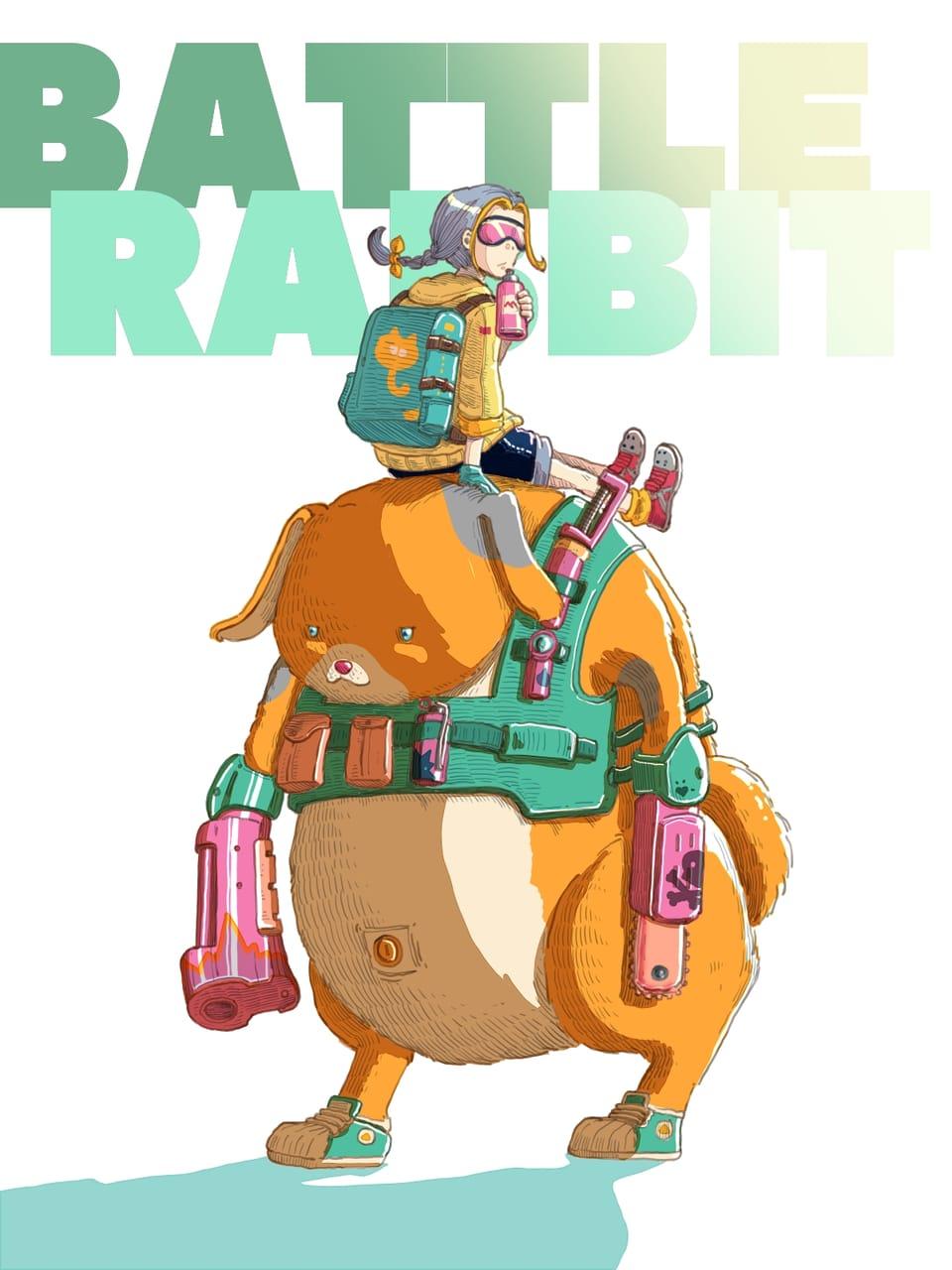 Battle rabbit Illust of Wutikai March2021_Creature rabbit Japanese_style robot girl fight