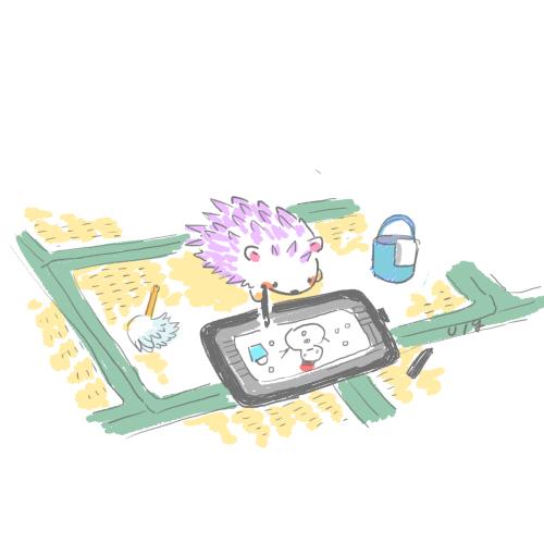 Hedgehog is Drawing with Wacom Cintiq 16