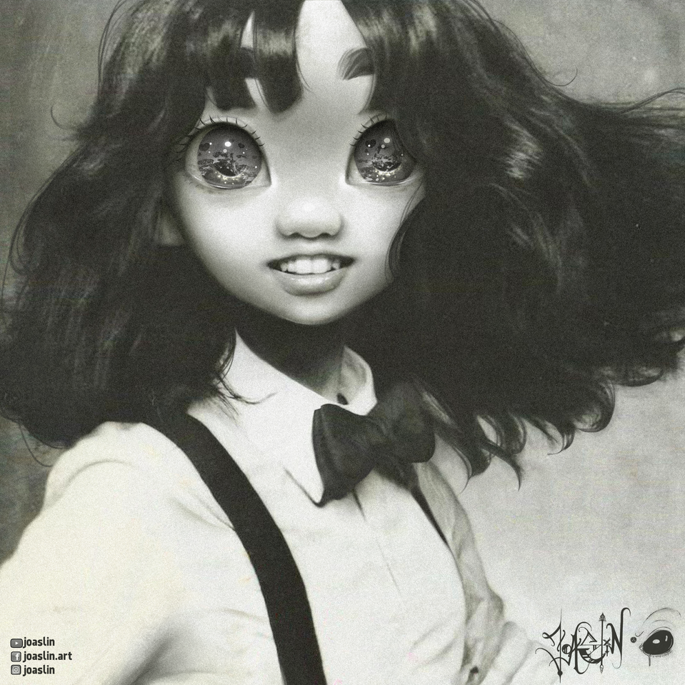 🖤 Plastic love 🖤 Illust of JoAsLiN ARTstreet_Ranking illustration eyes girl digital original art fanart blackandwhite cute anime