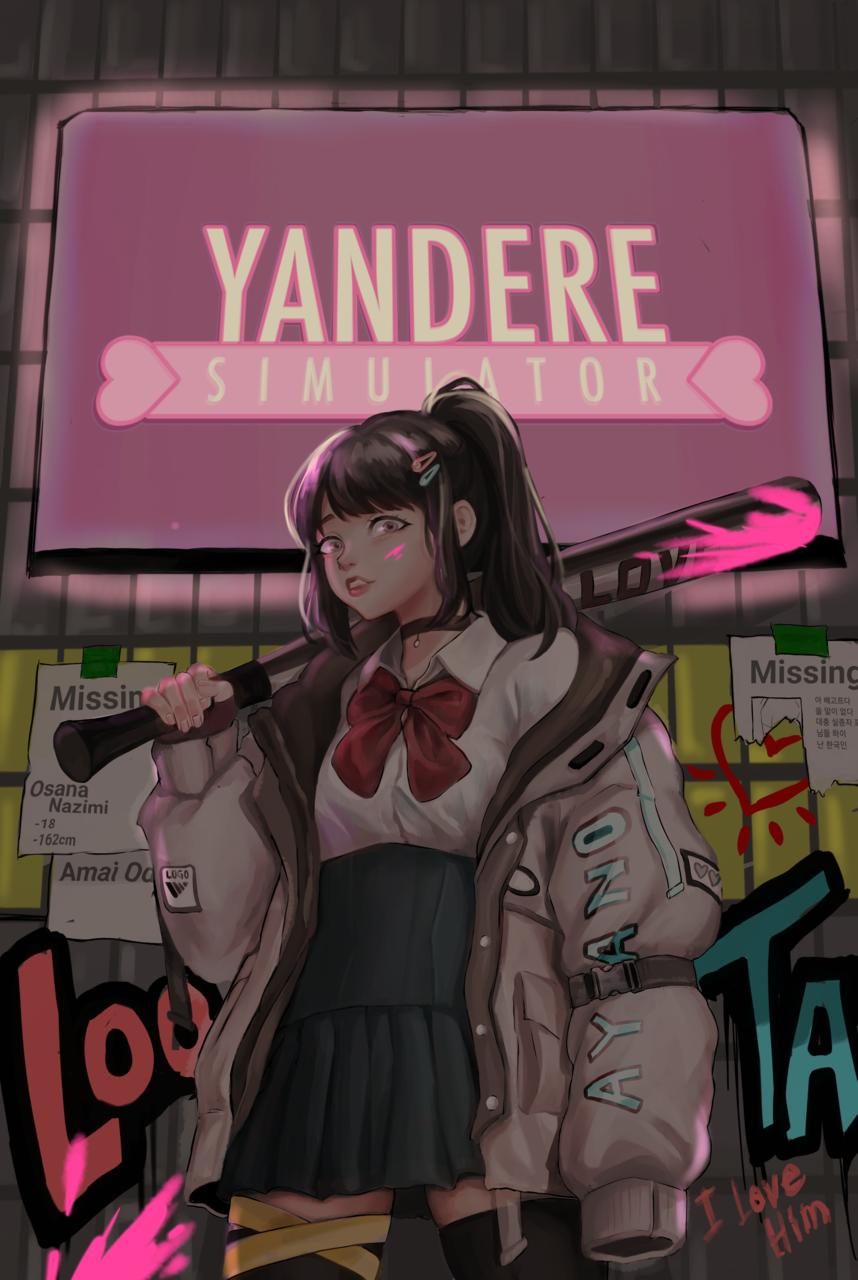 Fluorescent paint Illust of 꺄하하하 YandereSimulatorFanArtContest Ayano yanderesimulator
