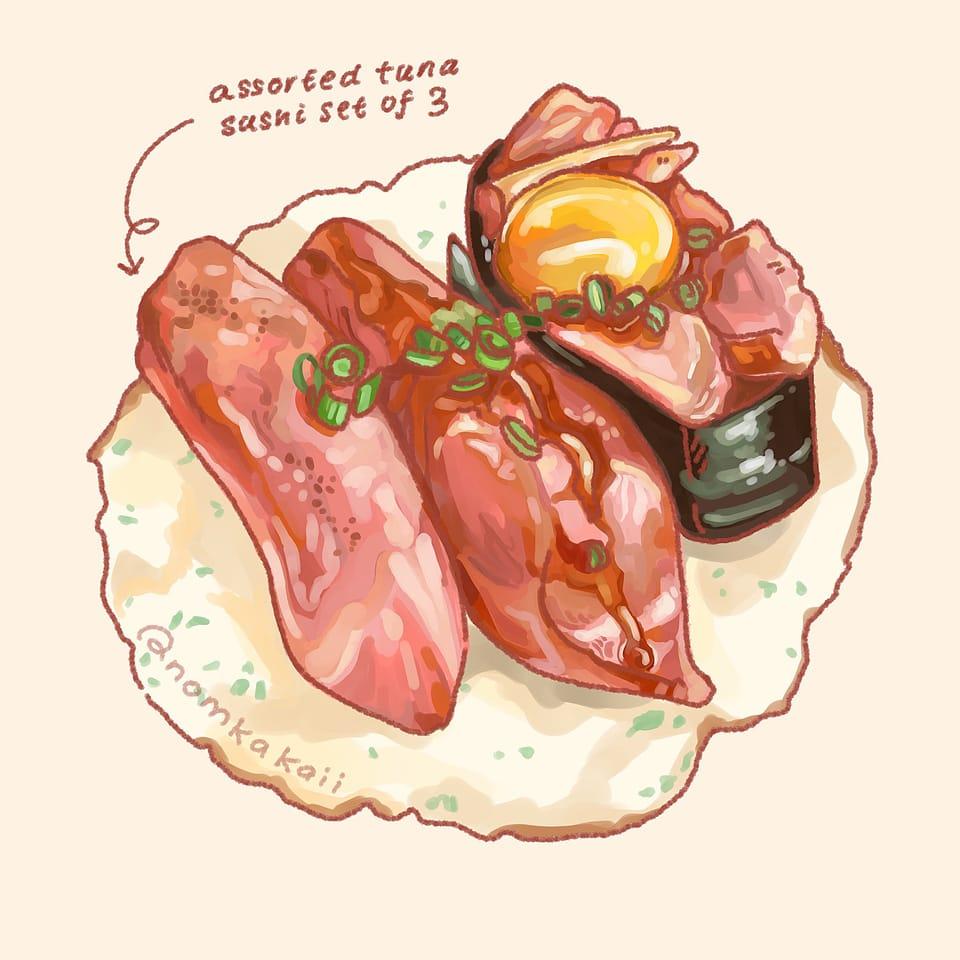 Beef Sushi Practice Illust of Nomkakaii illustration foodillustrations fanart sushi food anime GHIBLI HongKong instagram medibang