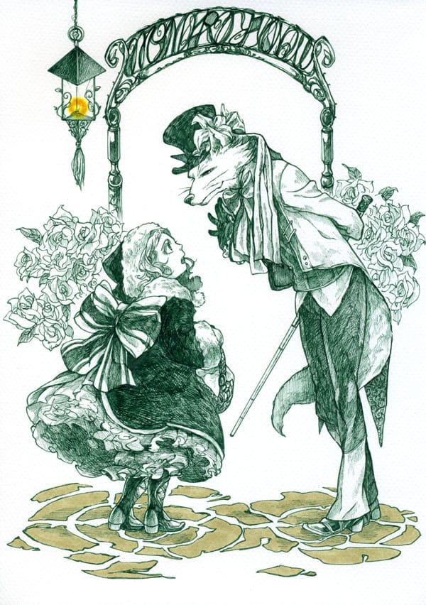 ここから先は気をつけて Illust of すなみ 沙希 May2021_Monochrome original girl fox illustration