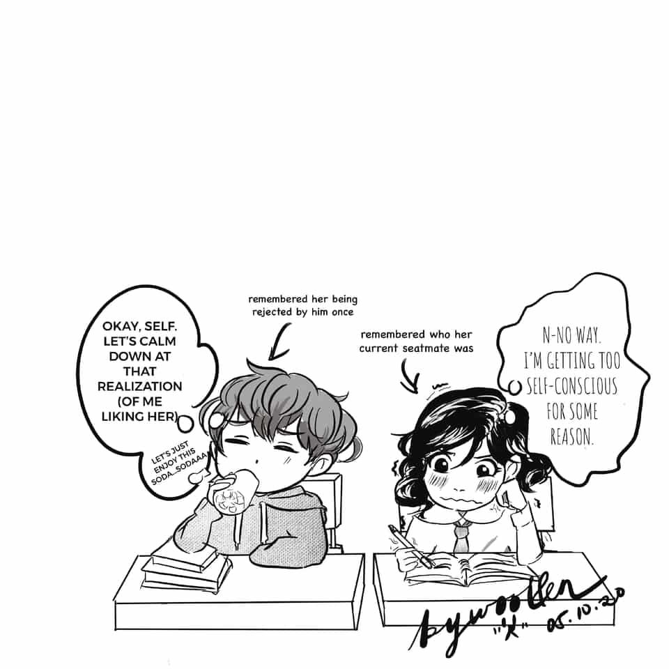 —when we sat in silence Illust of woollenbear romance anime Comics shoujo love girl mangastyle drink boy
