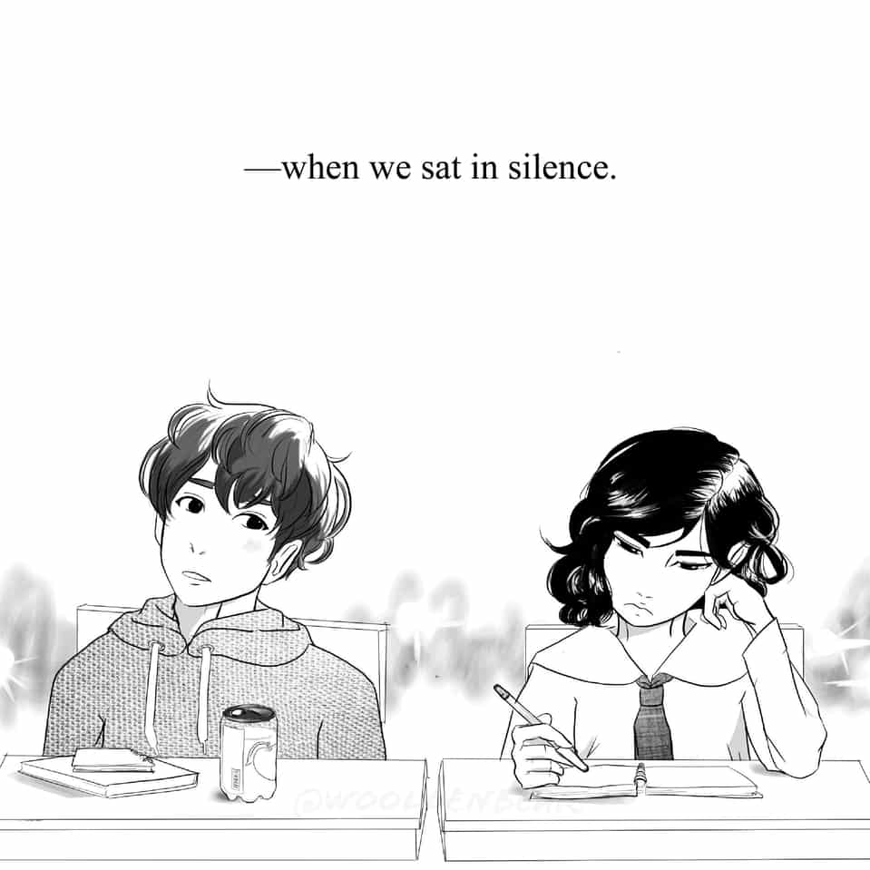 —when we sat in silence Illust of woollenbear romance anime Comics shoujo love girl mangastyle drink boy