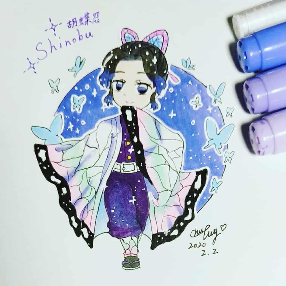 kochoshinobu胡蝶忍 Illust of @dorinacity_ct DemonSlayerFanartContest KimetsunoYaiba illustration KochoKanae Shinobu 忍 蟲柱 KochouShinobu