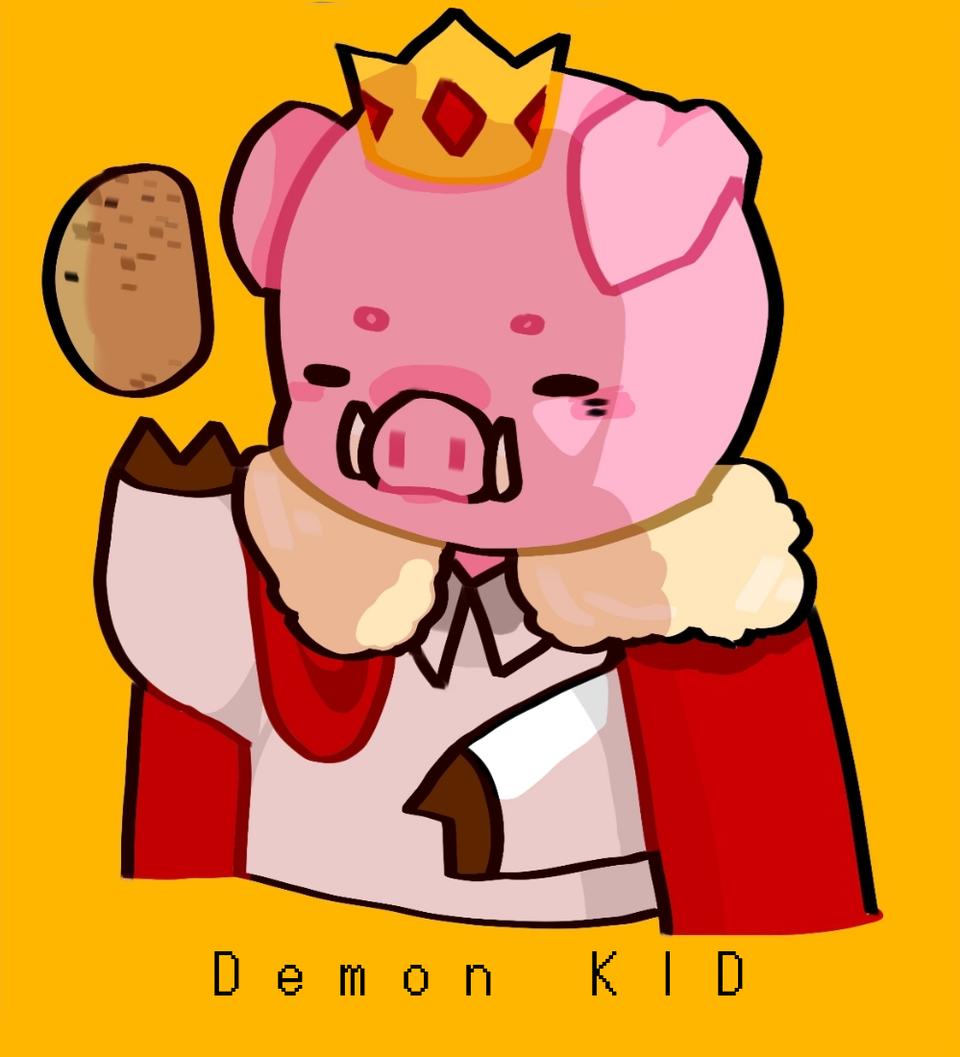 TECHNOBLADE THE PIG Illust of Demon KID medibangpaint cute technoblade Minecraft pig God pink hehe Potato crown