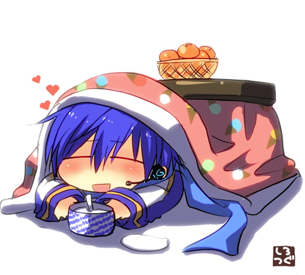 こたつむり Illust of 白継 KAITO ice-cream こたつ illustration VOCALOID みかん winter