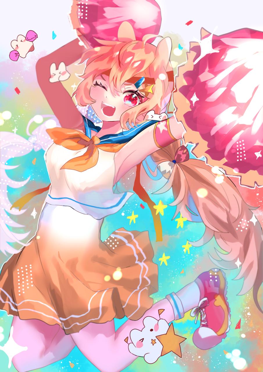 絶対!応援!! Illust of 骨董 May.2020Contest:Cheering smile girl kawaii illustration 応援画像