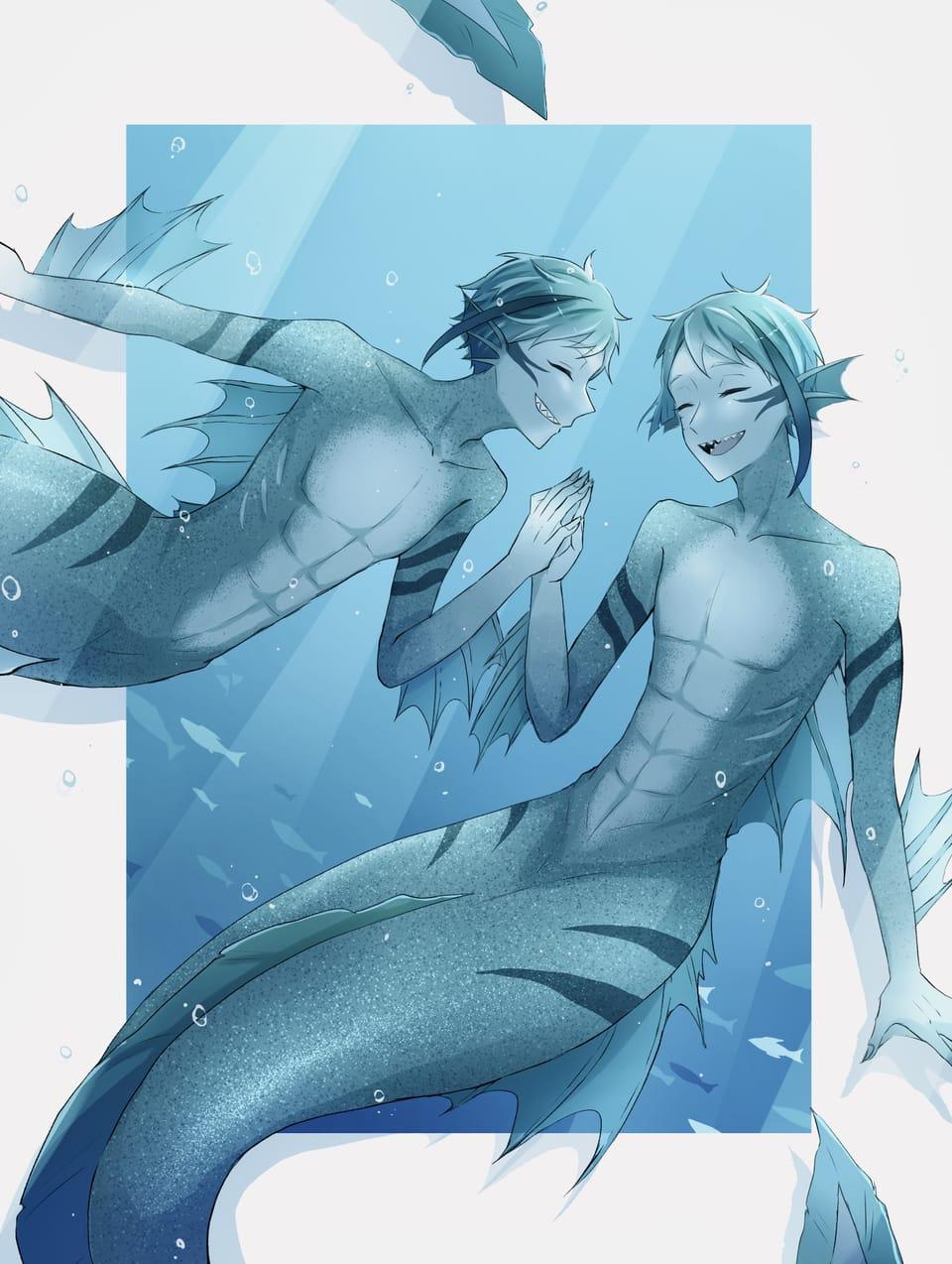 mermaid Illust of 右 OCTAVINELLE mermaid リーチ兄弟 Twisted-Wonderland
