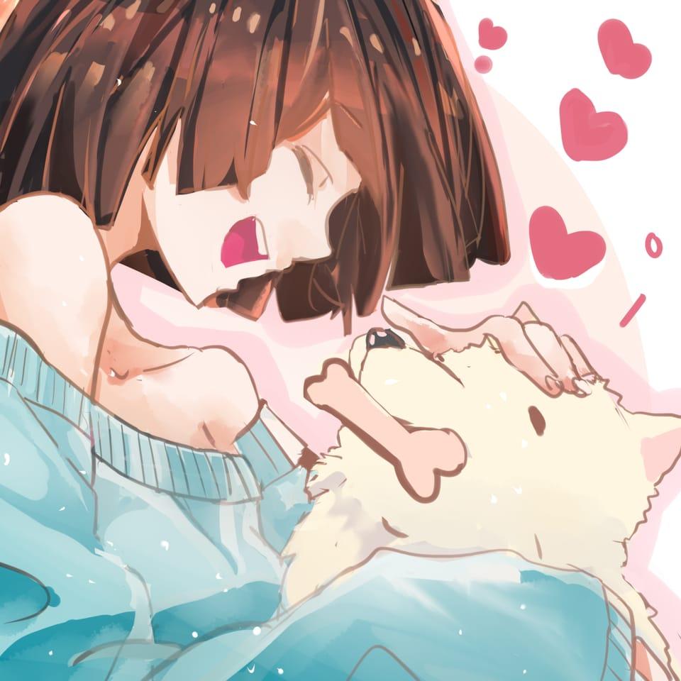 狗狗——dog! Illust of 一十 original girl oc cute dog 1hDrawingChallenge medibangpaint
