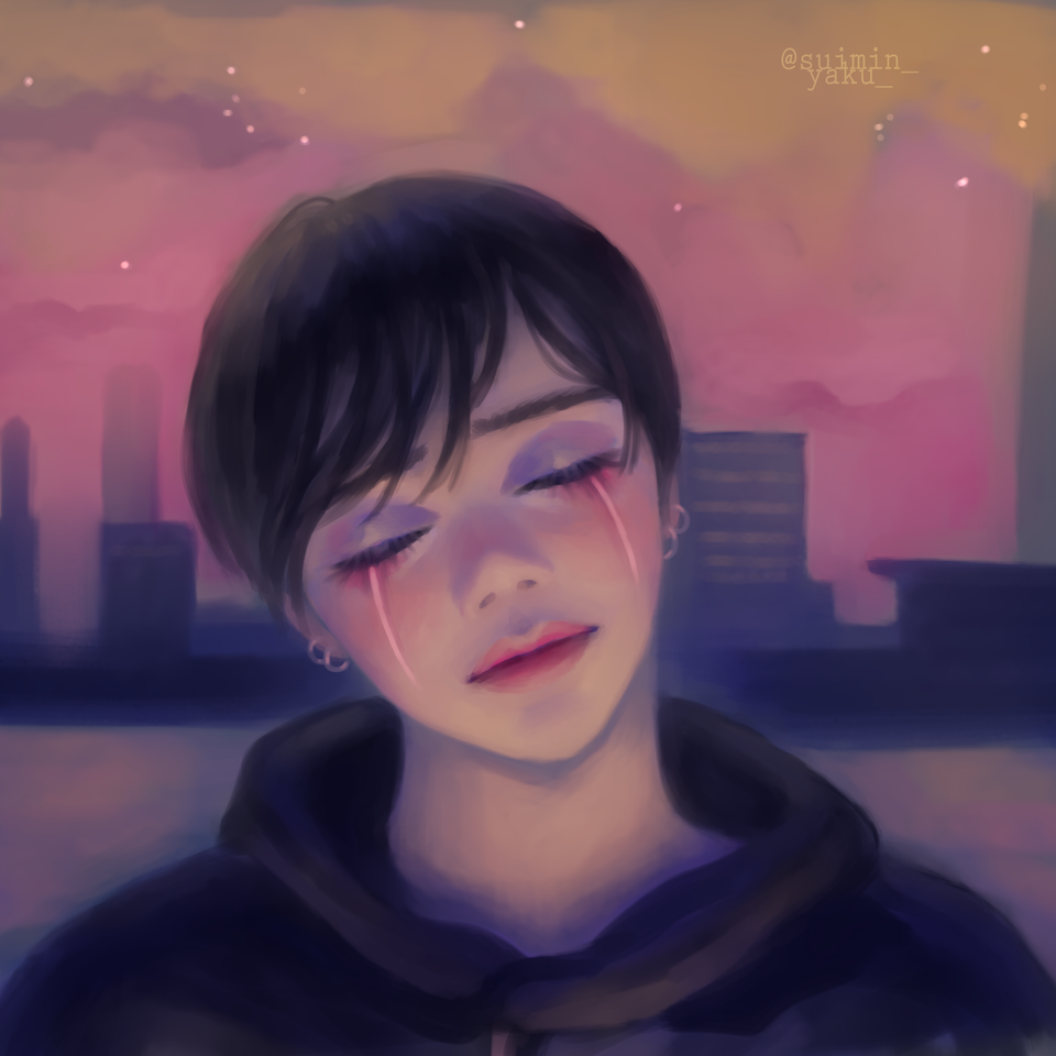 tears Illust of suimin_yaku_ boy original digitalpainting oc digital portrait