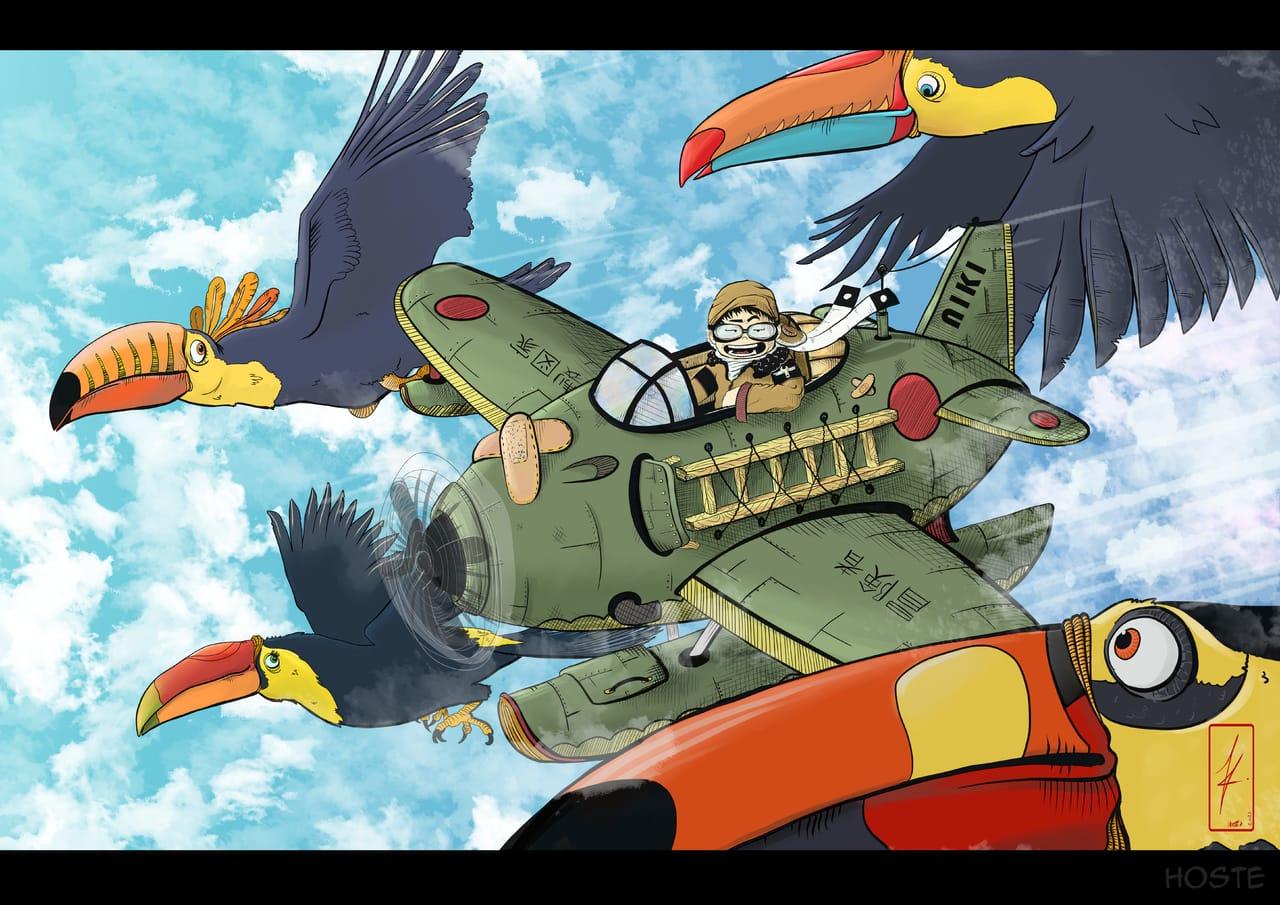 SAITO! Fliyng with toucan ! Adventure or nothing ! Illust of HOSTE February2021_Fantasy January2021_Contest:OC FightingGame ContestEntry toucan illustration mangaartist webtoon saito aviator manga mangaart fly