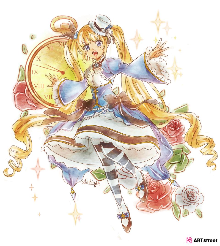 Arisu Illust of alinhirya ColoringContest skirt blonde twin_ponytails clock Alice rose girl fairytale